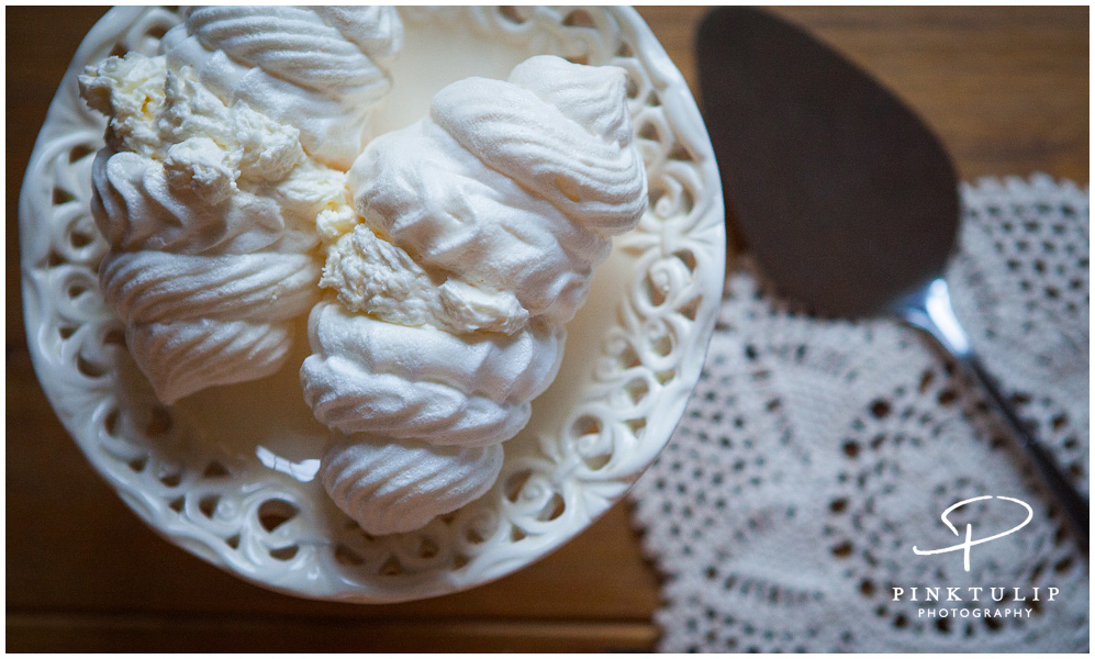 Meringues with whipped cream.